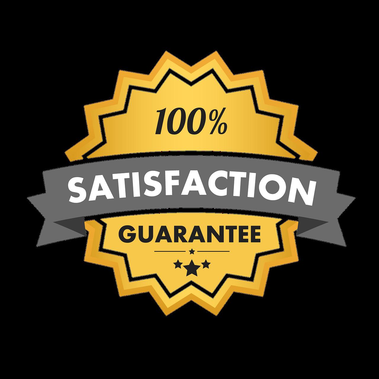 satisfaction guarantee, 100 satisfaction, seal